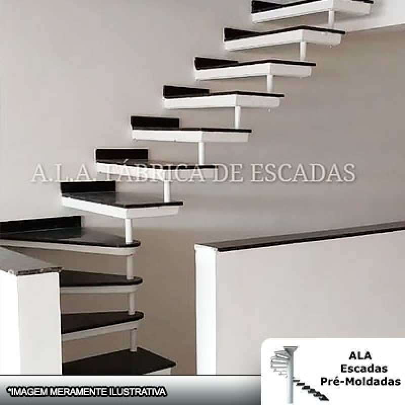 Comprar Escada Pré Fabricada em U L J Mairiporã - Escada Pré Fabricada Reta com Descanso