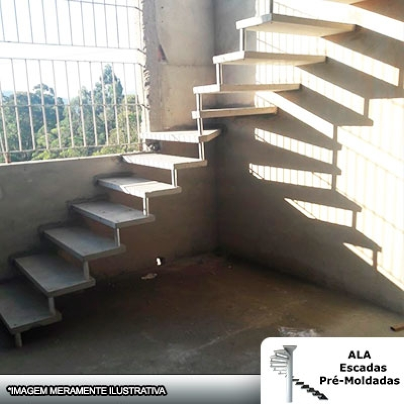Escada Pré Fabricada de Concreto Valor Itapecerica da Serra - Escada Pré Fabricada Reta com Descanso